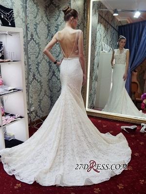 Lace Sleeveless Gorgeous Zipper Sexy Mermaid Backless Wedding Dress_3