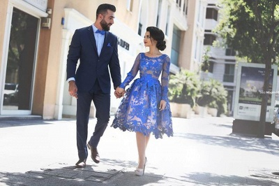 Delicate Ruyal Blue Appliques Prom Dress UK Long Sleeve_4