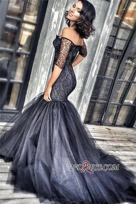 Black New Court-Train Off-the-shoulder Tulle Half-Sleeves Lace Mermaid Evening Dress UKes UK BA3948 BK0_1