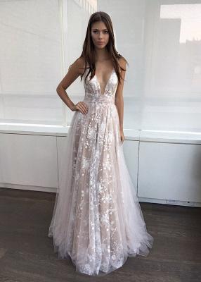 A-line Layers Elegant Lace-Appliques Deep-V-Neck Prom Dress UKes UK_4