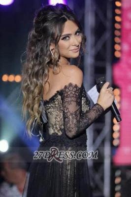 Evening Black Lace Long Sleeve Prom Dress UK Lovely V-neck Long Chiffon Gowns_5