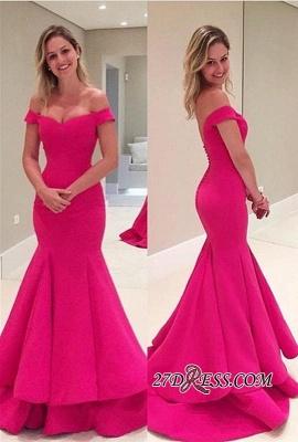 Sleeves Fuchsia Short Mermaid Off-The-Shoulder Prom Dress UK_3