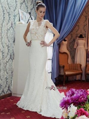 Lace Sleeveless Gorgeous Zipper Sexy Mermaid Backless Wedding Dress_4