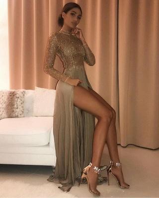 Delicate High Neck Long Sleeve Prom Dress UK | Front Split Prom Dress UK_4