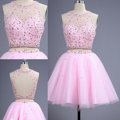 Hot Sale Pink two Pieces Short Prom Dress UK Beadings Tulle Homecoming Dress UK_2