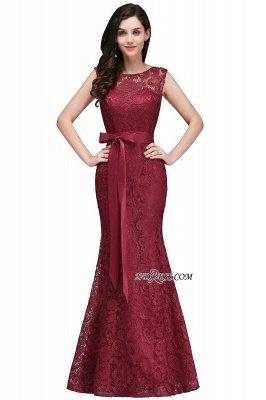 Bowknot-Sash Lace Floor-Length Burgundy Sleeveless Mermaid Prom Dress UKes UK_6