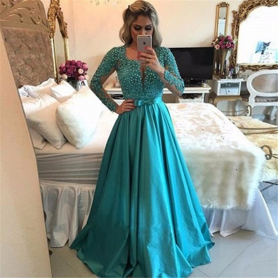Luxury Long Sleeve Evening Dress UK | 2019 Beadings Prom Dress UK_3