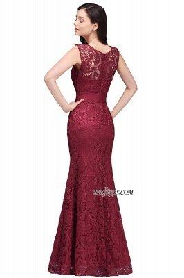 Bowknot-Sash Lace Floor-Length Burgundy Sleeveless Mermaid Prom Dress UKes UK_3