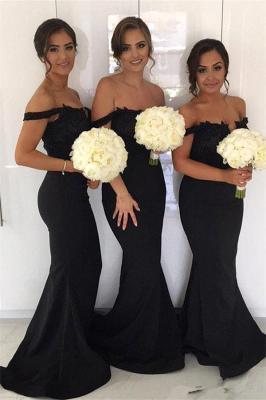 Black Off-the-Shoulder Bridesmaid Dress UK | Mermaid Bridesmaid Dress UK_1