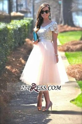 Lace Tulle Short-Sleeves A-Line Tea-Length Homecoming Dress UK_3