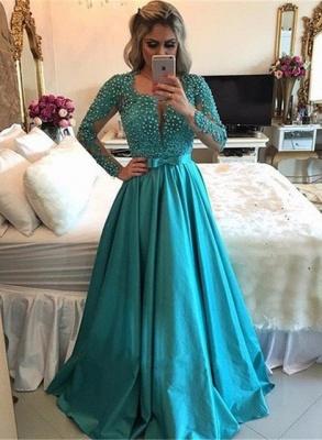 Luxury Long Sleeve Evening Dress UK | 2019 Beadings Prom Dress UK_1