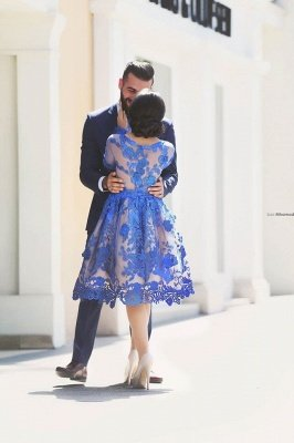 Delicate Ruyal Blue Appliques Prom Dress UK Long Sleeve_3