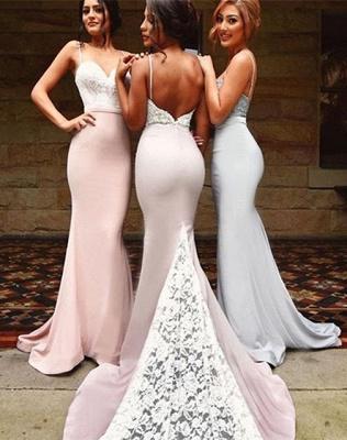 Luxury Mermaid Spaghetti Strap Bridesmaid Dress UK Lace On Sale th206_2