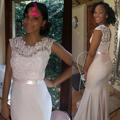 Newest Lace Mermaid Illusion Bridesmaid Dress UK Cap Sleeve_6